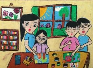 Vẽ tranh đề tài học tập cô giáo dạy môn mỹ thuật đang dạy các em vẽ tranh