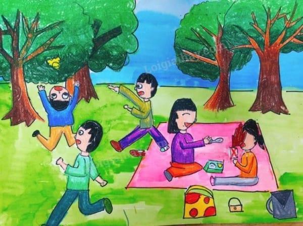 tranh vẽ về gia đình