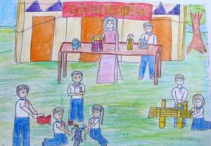 Vẽ tranh đề tài học tập về hình ảnh cô và trò trong hoạt động ngoại khóa
