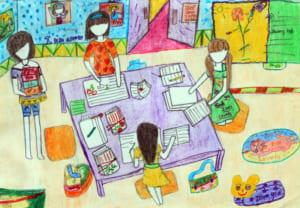 Vẽ tranh đề tài học tập đơn giản với chủ đề học nhóm